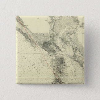 サンアンドレアスの切れ間を示すサンフランシスコ湾 5.1CM 正方形バッジ
