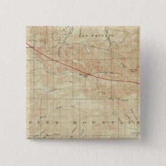 サンアンドレアスの切れ間を示すMt Pinosの四角形 5.1cm 正方形バッジ