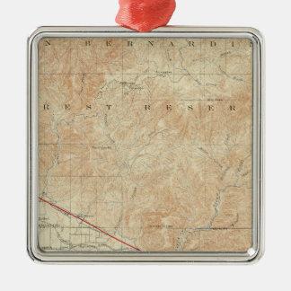 サンアンドレアスの切れ間を示すRedlandsの四角形 メタルオーナメント