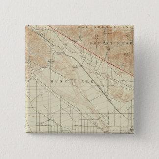 サンアンドレアスの切れ間を示すSan Bernardinoの四角形 5.1cm 正方形バッジ