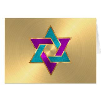 サンキューカードの紫色のターコイズの星のデイヴィッドの金ゴールド カード