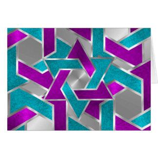 サンキューカードの紫色のターコイズの星のデイヴィッドの銀 カード