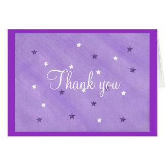 サンキューカードの、紫色および白い星 ノートカード