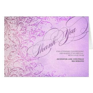 サンキューカードを結婚する紫色のヴィンテージ ノートカード