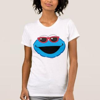 サングラスが付いているクッキーの微笑の顔 Tシャツ