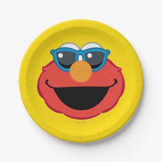 サングラスが付いているElmoの微笑の顔 ペーパープレート