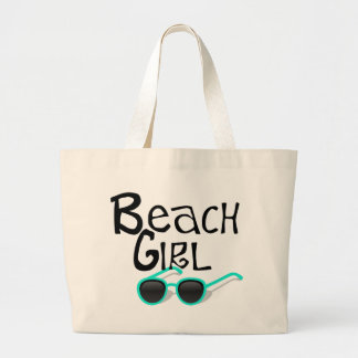 サングラスを持つビーチの女の子 ラージトートバッグ