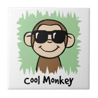 サングラスを持つ漫画の切り貼り芸術のカッコいい猿 タイル