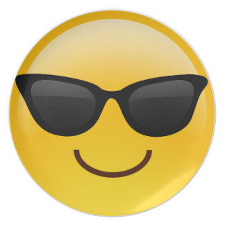 サングラスクールなEmojiが付いている微笑の顔 プレート