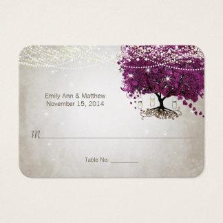 サングリエのハートの葉の木のテーブルの座席表 名刺