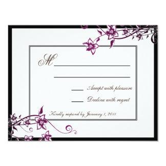サングリエの白い花の花の結婚式の応答RSVP 10.8 X 14 インビテーションカード