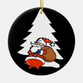 サンタおよびクリスマスツリーのクリスマスのオーナメント セラミックオーナメント