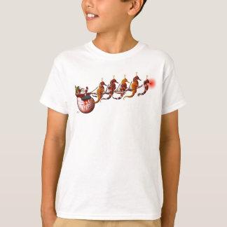 サンタおよびタツノオトシゴのそりの子供のTシャツ Tシャツ