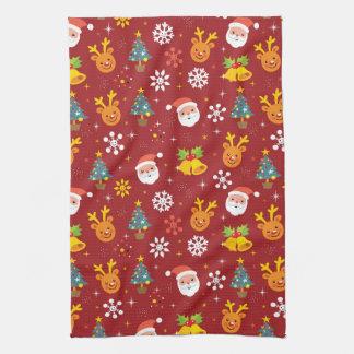 サンタおよびトナカイが付いているクリスマスパターン キッチンタオル