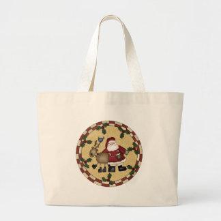 サンタおよびトナカイのクリスマスのトートバック ラージトートバッグ