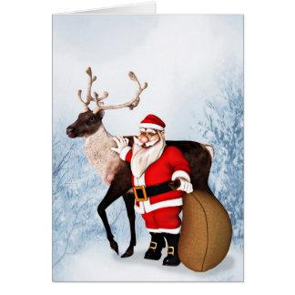 サンタおよびトナカイのクリスマスカード カード
