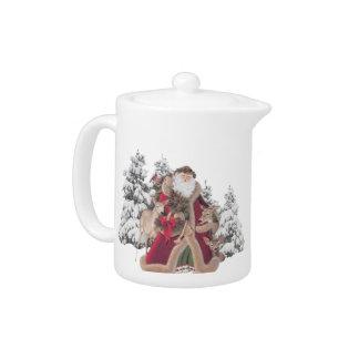サンタおよびトナカイのヴィンテージの茶ポット