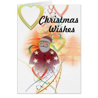 サンタおよびハートのクリスマスの願い カード