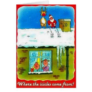 サンタおよびルドルフは屋根の挨拶状で小便をします カード