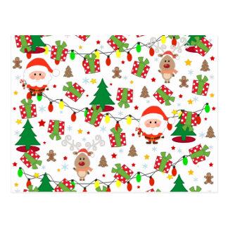 サンタおよびルドルフパターン ポストカード