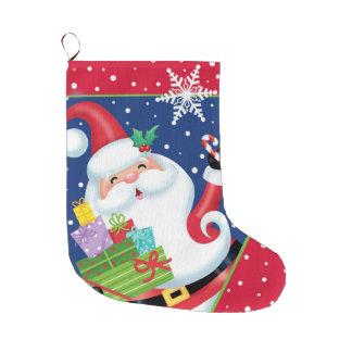 サンタおよび雪片のストッキング ラージクリスマスストッキング