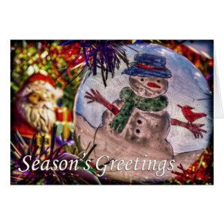 サンタおよび霜の降りたな季節の挨拶 カード
