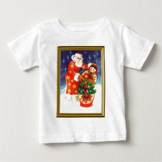 サンタおよびMatryoshka ベビーTシャツ