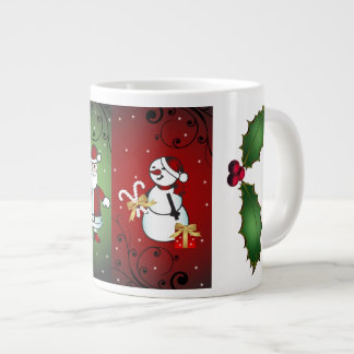 サンタおよびSnoman -それらを両方有することができます ジャンボコーヒーマグカップ