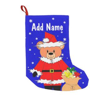 サンタくまが付いているChrismasの名前入りなストッキング スモールクリスマスストッキング
