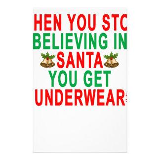 サンタで信じることを止めるとき下着を得ます 便箋