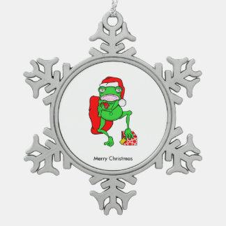 サンタとして服を着るかわいい漫画のカエル スノーフレークピューターオーナメント