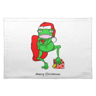 サンタとして服を着るかわいい漫画のカエル ランチョンマット