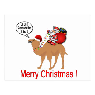 サンタとのこぶ日のラクダのクリスマス ポストカード