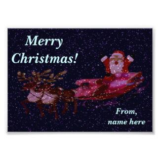 サンタとの名前入りなクリスマスの写真の挨拶 フォトプリント