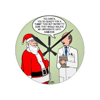 サンタのおなかのタック ラウンド壁時計