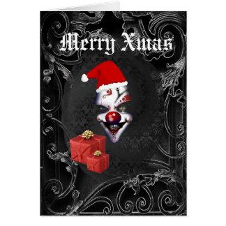 サンタのおもしろいなゴシック様式黒いクリスマス グリーティングカード