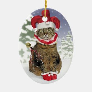 サンタのこっけい者猫のオーナメント セラミックオーナメント