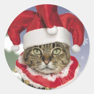 サンタのこっけい者猫のクリスマスのステッカー ラウンドシール