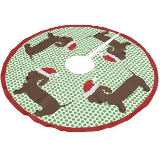 サンタのすてきなダックスフント-ブラウン ブラッシュドポリエステルツリースカート