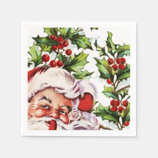 サンタのすてきなヒイラギのヤドリギのヴィンテージ スタンダードカクテルナプキン