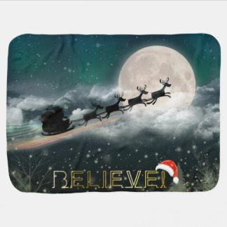 サンタのそりのトナカイのクリスマスのベビーブランケット ベビー ブランケット