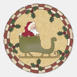 サンタのそりの円形のステッカー ラウンドシール