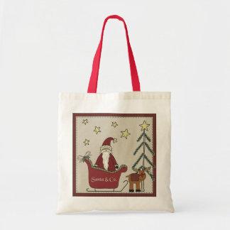 サンタのそり場面ギフトバッグ トートバッグ