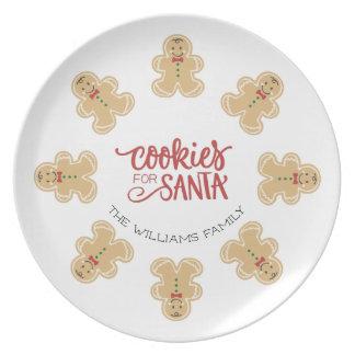 サンタのためのジンジャーブレッドマンのクッキー プレート