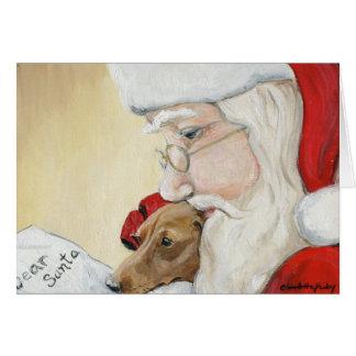"""""""サンタのためのダックスフント要求""""の芸術のクリスマスカード カード"""