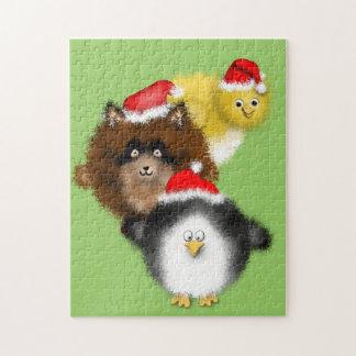 サンタのひよこ、アライグマおよびペンギン ジグソーパズル