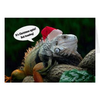 サンタのイグアナのクリスマスの挨拶状 グリーティングカード
