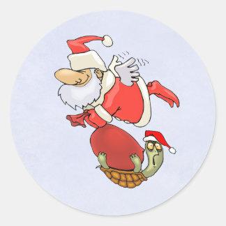 サンタのカメの助手 ラウンドシール