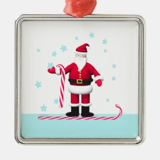 サンタのキャンディ・ケーンおよび星のクリスマス メタルオーナメント