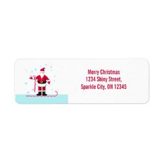 サンタのキャンディ・ケーンおよび星のクリスマス ラベル